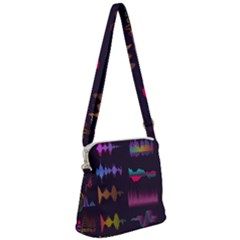 Colorful-sound-wave-set Zipper Messenger Bag by Vaneshart