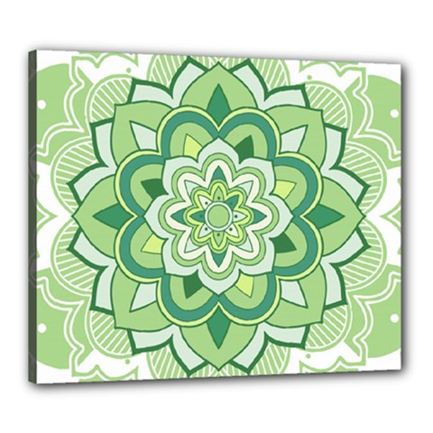 Floral-green-mandala-white Canvas 24  X 20  (stretched)
