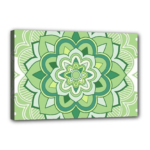 Floral-green-mandala-white Canvas 18  X 12  (stretched)