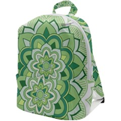 Floral-green-mandala-white Zip Up Backpack