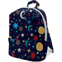 Colorful-background-moons-stars Zip Up Backpack