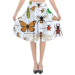 Insects Seamless Pattern Flared Midi Skirt