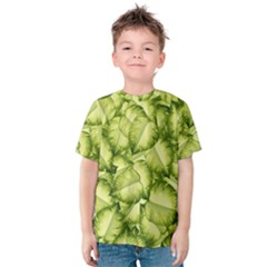 Seamless Pattern With Green Leaves Kids  Cotton Tee