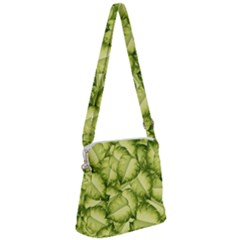 Seamless Pattern With Green Leaves Zipper Messenger Bag