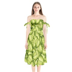 Seamless Pattern With Green Leaves Shoulder Tie Bardot Midi Dress