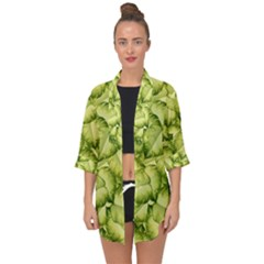 Seamless Pattern With Green Leaves Open Front Chiffon Kimono