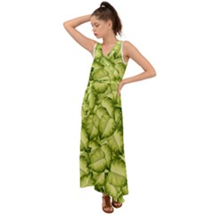Seamless Pattern With Green Leaves V-neck Chiffon Maxi Dress