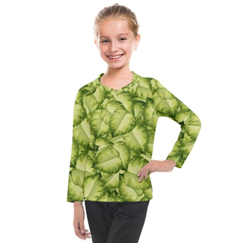 Seamless Pattern With Green Leaves Kids  Long Mesh Tee by Vaneshart