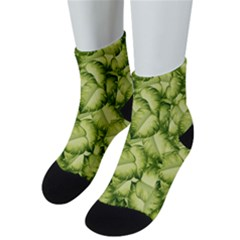 Seamless Pattern With Green Leaves Men s Low Cut Socks