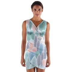 Abstract-seamless-pattern-with-winter-forest-background Wrap Front Bodycon Dress
