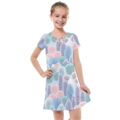 Abstract-seamless-pattern-with-winter-forest-background Kids  Cross Web Dress by Vaneshart