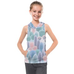 Abstract-seamless-pattern-with-winter-forest-background Kids  Sleeveless Hoodie