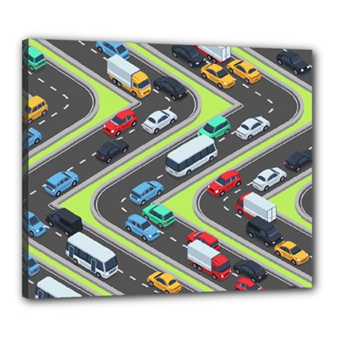 Urban-cars-seamless-texture-isometric-roads-car-traffic-seamless-pattern-with-transport-city-vector- Canvas 24  X 20  (stretched)
