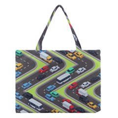 Urban-cars-seamless-texture-isometric-roads-car-traffic-seamless-pattern-with-transport-city-vector- Medium Tote Bag by Vaneshart