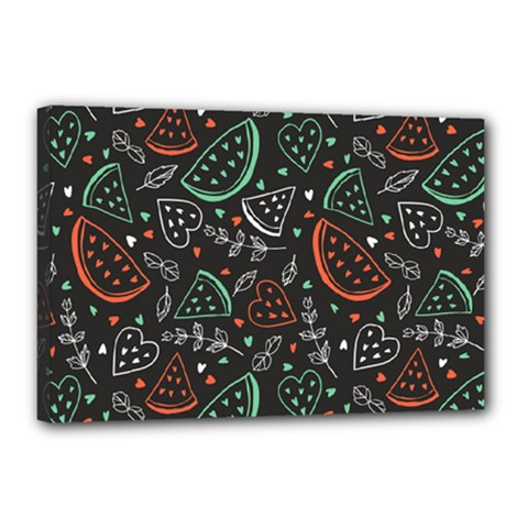 Seamless-vector-pattern-with-watermelons-mint -- Canvas 18  X 12  (stretched)