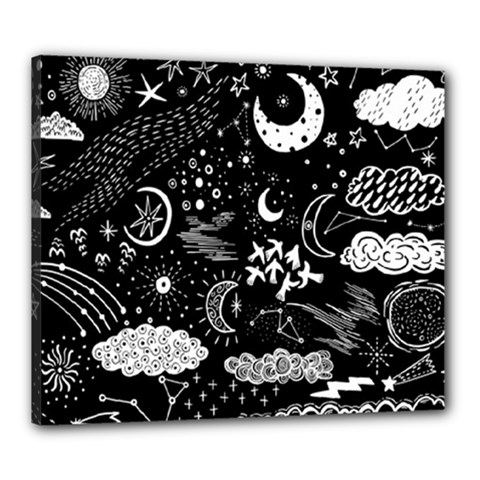 Vector-set-sketch-drawn-with-space Canvas 24  X 20  (stretched)