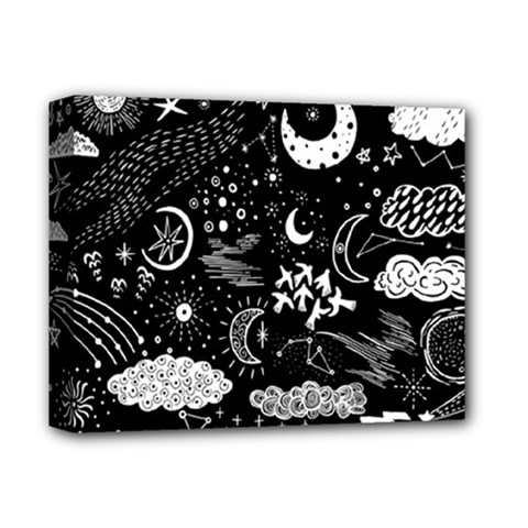 Vector-set-sketch-drawn-with-space Deluxe Canvas 14  X 11  (stretched)