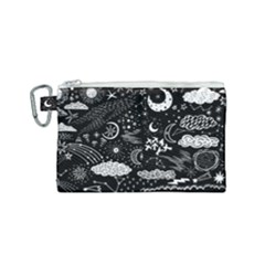 Vector-set-sketch-drawn-with-space Canvas Cosmetic Bag (small) by Vaneshart