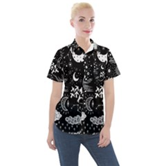Vector-set-sketch-drawn-with-space Women s Short Sleeve Pocket Shirt