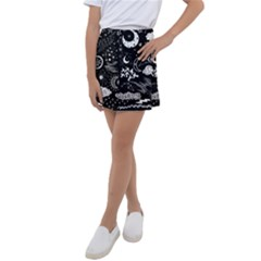 Vector-set-sketch-drawn-with-space Kids  Tennis Skirt