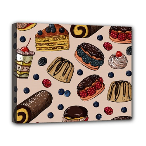 Seamless-pattern-with-sweet-cakes-berries Deluxe Canvas 20  X 16  (stretched)