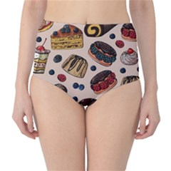 Seamless-pattern-with-sweet-cakes-berries Classic High-waist Bikini Bottoms