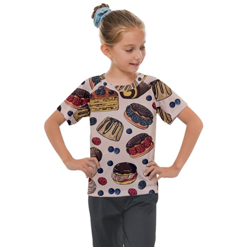 Seamless-pattern-with-sweet-cakes-berries Kids  Mesh Piece Tee by Vaneshart