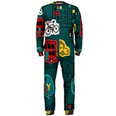 Seamless-pattern-hand-drawn-with-vehicles-buildings-road Onepiece Jumpsuit (men)  by Vaneshart