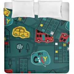 Seamless-pattern-hand-drawn-with-vehicles-buildings-road Duvet Cover Double Side (king Size)