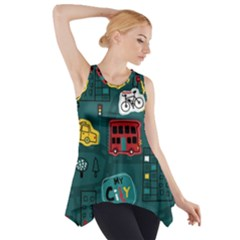 Seamless-pattern-hand-drawn-with-vehicles-buildings-road Side Drop Tank Tunic