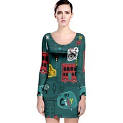 Seamless-pattern-hand-drawn-with-vehicles-buildings-road Long Sleeve Velvet Bodycon Dress