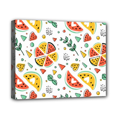 Seamless-hipster-pattern-with-watermelons-mint-geometric-figures Canvas 10  X 8  (stretched)
