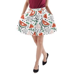 Seamless-vector-pattern-with-watermelons-mint A-line Pocket Skirt by Vaneshart