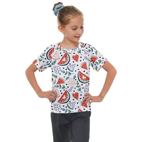 Seamless-vector-pattern-with-watermelons-mint Kids  Mesh Piece Tee by Vaneshart