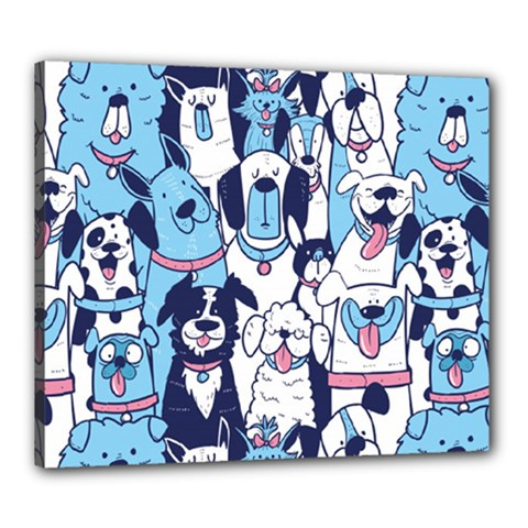 Dogs-seamless-pattern Canvas 24  X 20  (stretched)