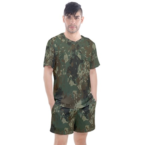 Camouflage-splatters-background Men s Mesh Tee And Shorts Set by Vaneshart