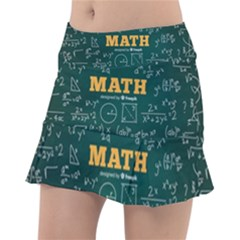 Realistic-math-chalkboard-background Tennis Skorts by Vaneshart