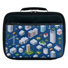 Isometric-seamless-pattern-megapolis Lunch Bag