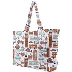 Seamless-pattern-with-london-elements-landmarks Simple Shoulder Bag by Vaneshart