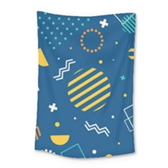 Flat-design-geometric-shapes-background Small Tapestry
