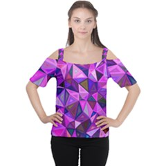 Triangular-shapes-background Cutout Shoulder Tee