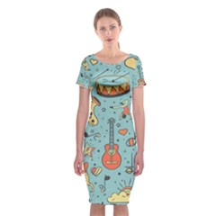Seamless-pattern-musical-instruments-notes-headphones-player Classic Short Sleeve Midi Dress