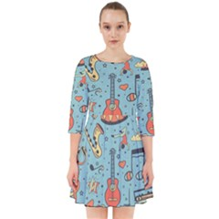 Seamless-pattern-musical-instruments-notes-headphones-player Smock Dress