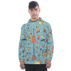 Seamless-pattern-musical-instruments-notes-headphones-player Men s Front Pocket Pullover Windbreaker by Vaneshart