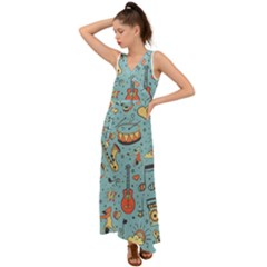 Seamless-pattern-musical-instruments-notes-headphones-player V-neck Chiffon Maxi Dress