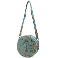 Seamless-pattern-musical-instruments-notes-headphones-player Crossbody Circle Bag
