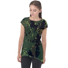 Military Background Grunge Cap Sleeve High Low Top by Vaneshart