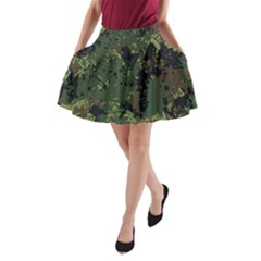 Military Background Grunge A-line Pocket Skirt
