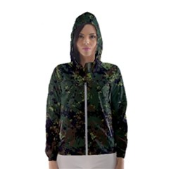Military Background Grunge-style Women s Hooded Windbreaker by Vaneshart