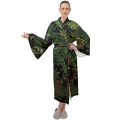 Military Background Grunge-style Maxi Velour Kimono by Vaneshart